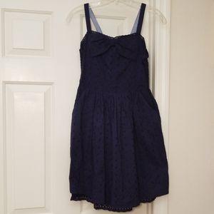 Cherokee Eyelet Navy Blue Dress XL